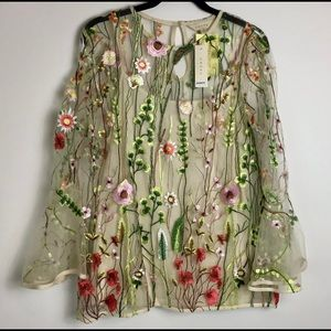 Adiva Sheer Floral Embroidered Blouse